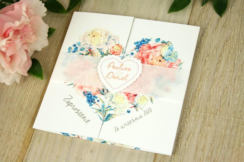 Kwiatowe V9  - Błękit z różem